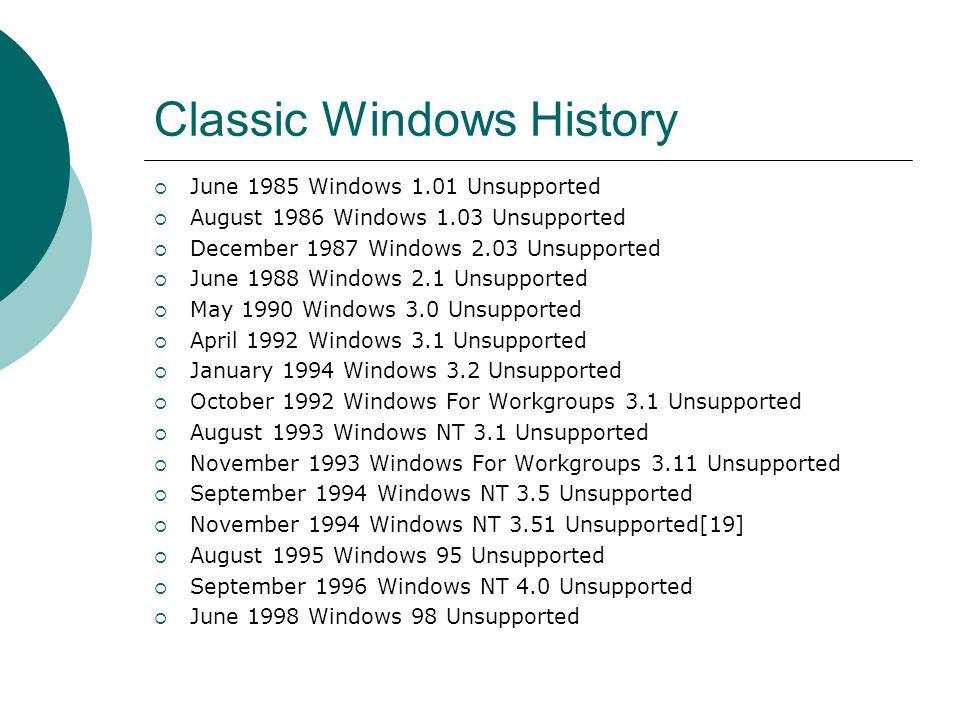 Classic Windows History June 1985 Windows 1.01 Unsupported August 1986 Windows 1.03 Unsupported December 1987 Windows 2.03 Unsupported June 1988 Windo