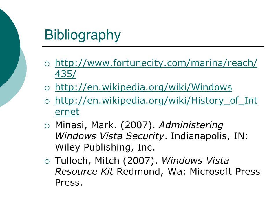 Bibliography http://www.fortunecity.com/marina/reach/ 435/ http://www.fortunecity.com/marina/reach/ 435/ http://en.wikipedia.org/wiki/Windows http://e