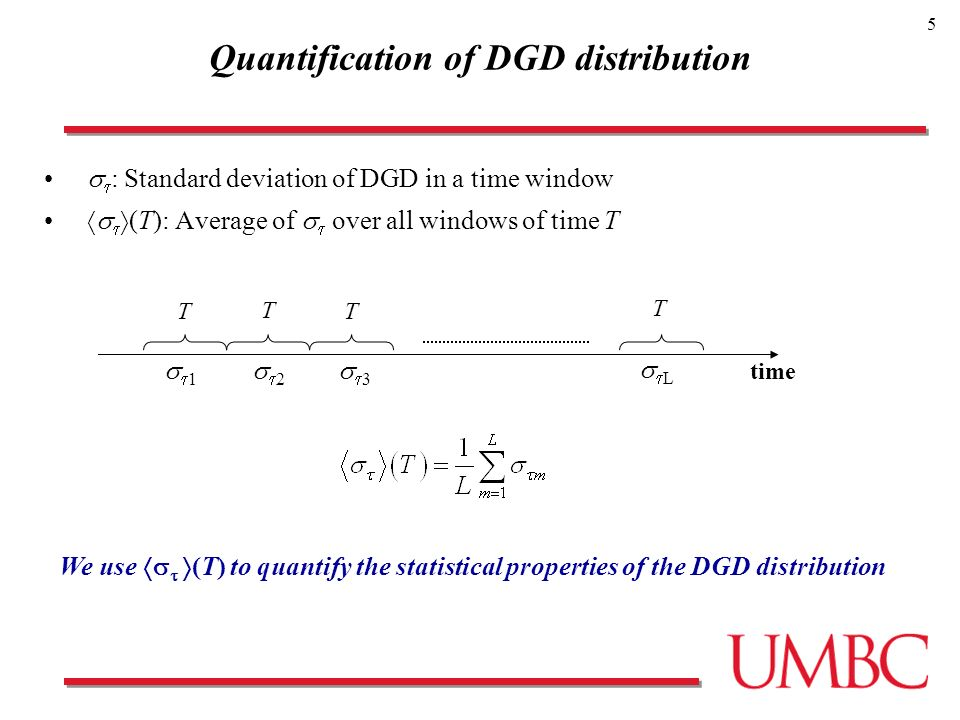 5 Quantification of DGD distribution : Standard deviation of DGD in a time window (T): Average of over all windows of time T 1 2 3 L T T T T time We use (T) to quantify the statistical properties of the DGD distribution