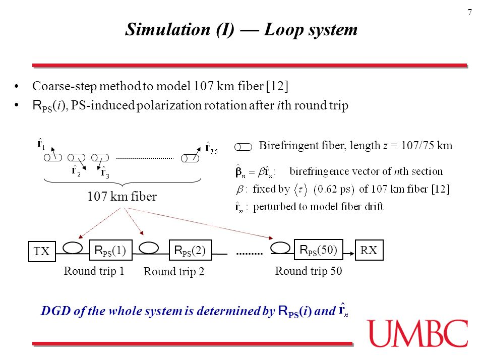 7 Simulation (I) Loop system Coarse-step method to model 107 km fiber [12] R PS (i), PS-induced polarization rotation after ith round trip R PS (1) R PS (2) Round trip 1 Round trip 2 R PS (50) Round trip 50 RX TX DGD of the whole system is determined by R PS (i) and Birefringent fiber, length z = 107/75 km 107 km fiber