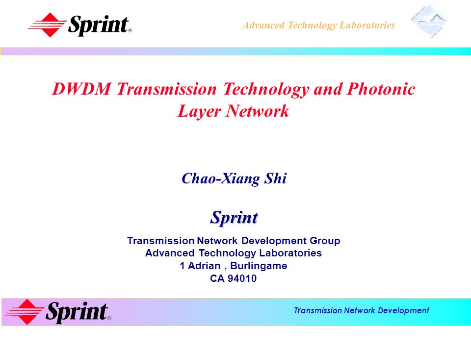 T r ansmission Network Development Advanced Technology Laboratories l l DWDM Technology in terrestrial network - DWDM capacity and transmission distance: technology review - DWDM transmission system - Span design in DWDM transmission - Optical transmitter in DWDM system: DFB laser with external modulator - Wavelength multiplex/de-multiplex technology in DWDM: AWG, Dielectric filter, and Fiber grating type - Two-stage optical fiber amplifier - Optical amplification, bandwidth, and capacity - Optical fiber nonlinearity: SPM, XPM, SBS, and FWM - Polarization mode dispersion (PMD) limitation for 10 Gbit/s and beyond Outline