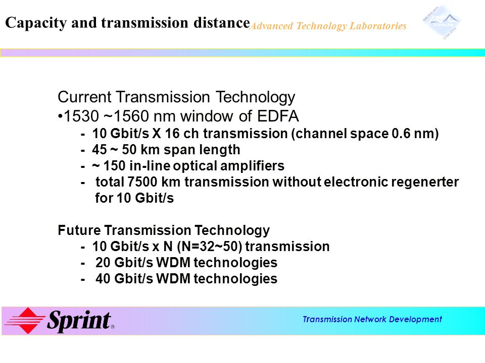 T r ansmission Network Development Advanced Technology Laboratories Capacity and transmission distance Current Transmission Technology 1530 ~1560 nm w