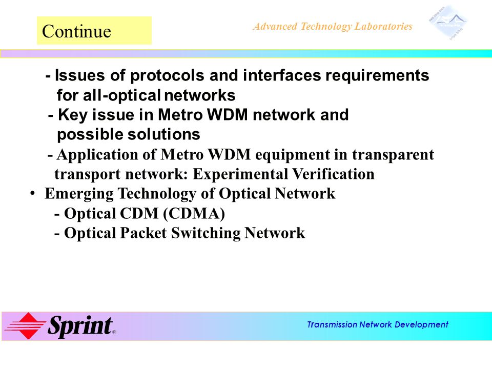 T r ansmission Network Development Advanced Technology Laboratories 2-Fiber OMS/SPRING (conventional switching) D Ring Switch A B C AÔCAÔC CÔACÔA AÔCAÔC CÔACÔA fiber 1 fiber 2 Working Protection fiber 1 i - N/2 N/2 - N ( i ) ( k ) Working Protection fiber 2 i - N/2 N/2 - N ( i ) ( k ) No Wavelength Conversion Required fiber cut