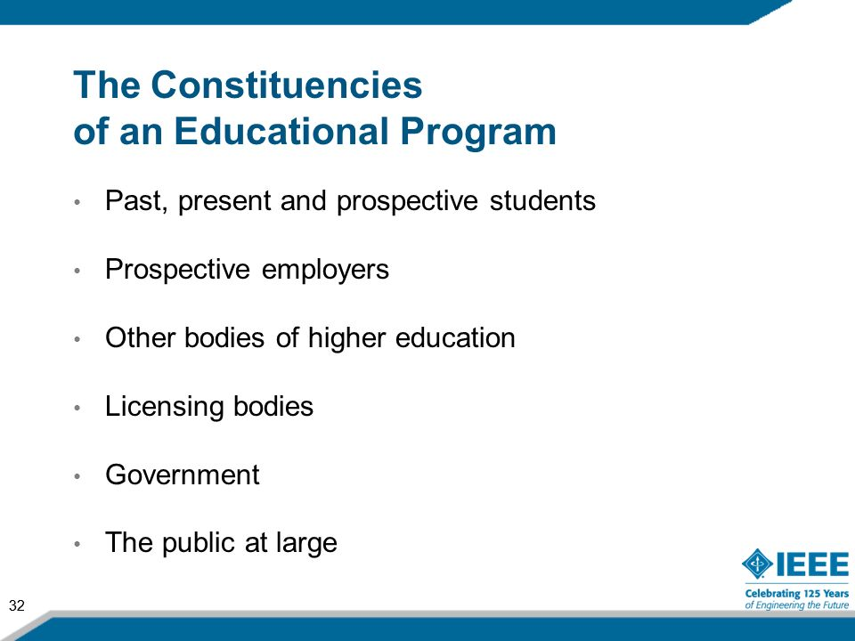 32 The Constituencies of an Educational Program Past, present and prospective students Prospective employers Other bodies of higher education Licensin
