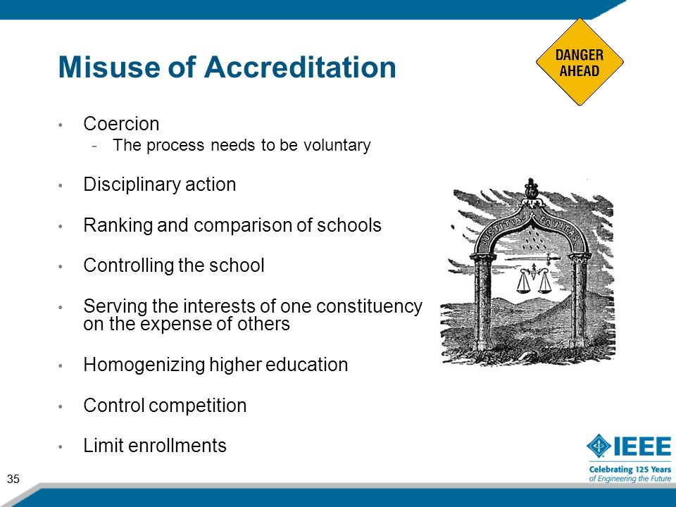 35 Misuse of Accreditation Coercion -The process needs to be voluntary Disciplinary action Ranking and comparison of schools Controlling the school Se