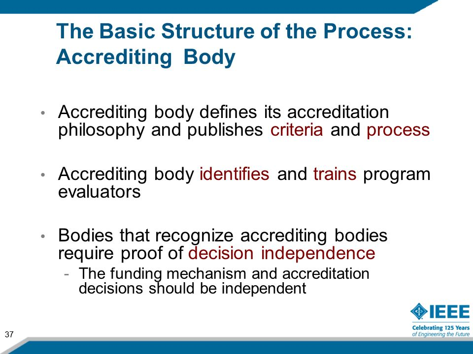 37 The Basic Structure of the Process: Accrediting Body Accrediting body defines its accreditation philosophy and publishes criteria and process Accre