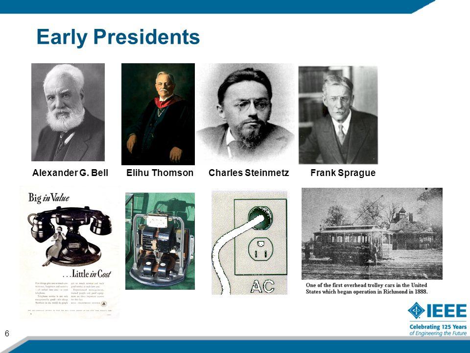 6 Early Presidents Alexander G. BellElihu ThomsonCharles SteinmetzFrank Sprague