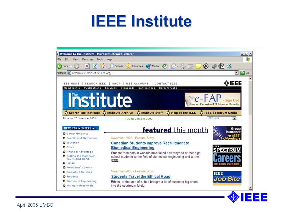 April 2005 UMBC IEEE Institute