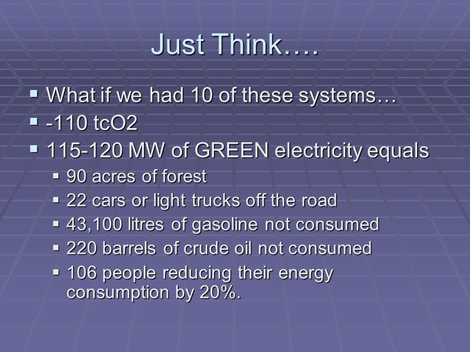 Just Think…. What if we had 10 of these systems… What if we had 10 of these systems… -110 tcO2 -110 tcO2 115-120 MW of GREEN electricity equals 115-12