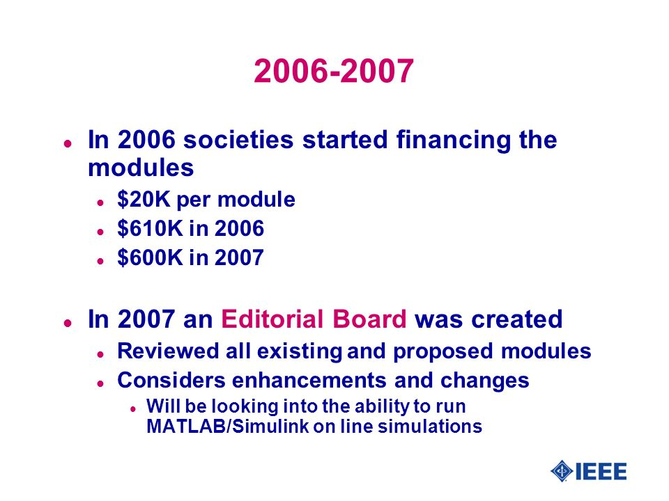 2006-2007 l In 2006 societies started financing the modules l $20K per module l $610K in 2006 l $600K in 2007 l In 2007 an Editorial Board was created