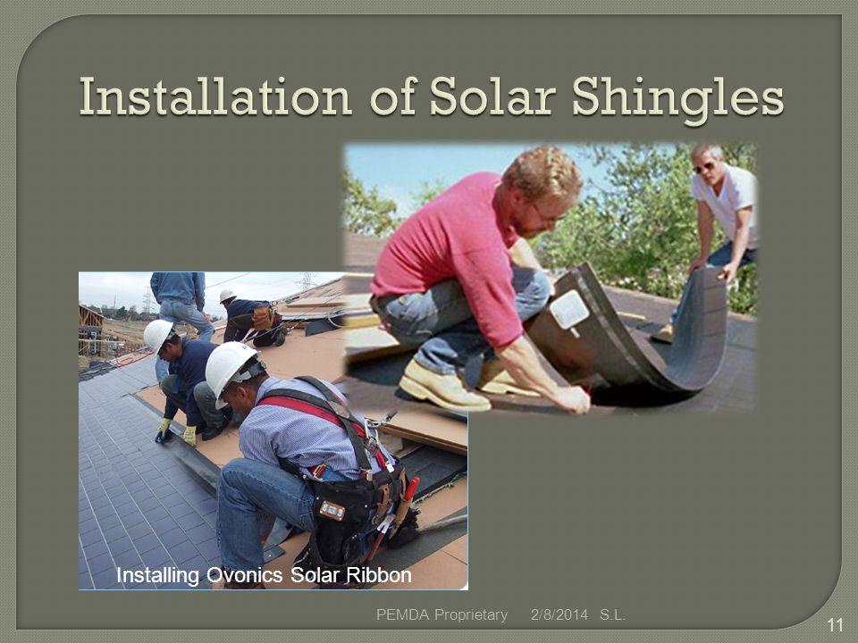 2/8/2014 S.L.PEMDA Proprietary 11 Installing Ovonics Solar Ribbon