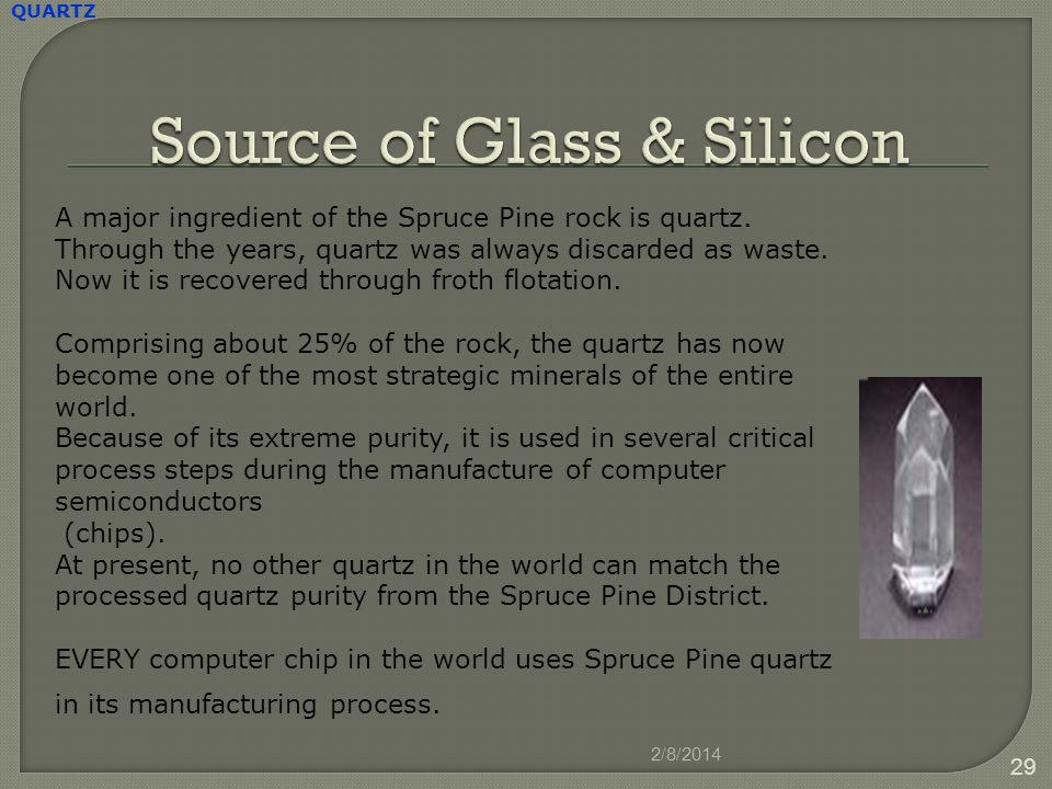 2/8/2014 29 QUARTZ A major ingredient of the Spruce Pine rock is quartz.