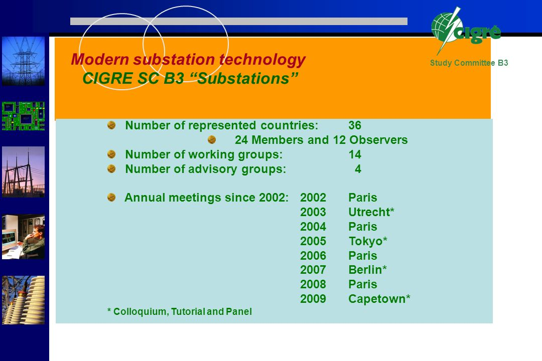Study Committee B3 Number of represented countries:36 24 Members and 12 Observers Number of working groups:14 Number of advisory groups: 4 Annual meet