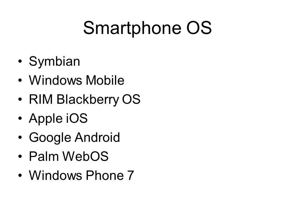 Smartphone OS Symbian Windows Mobile RIM Blackberry OS Apple iOS Google Android Palm WebOS Windows Phone 7