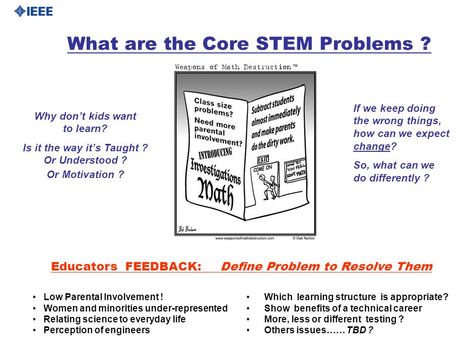 What are the Core STEM Problems ? Which learning structure is appropriate? Show benefits of a technical career More, less or different testing ? Other