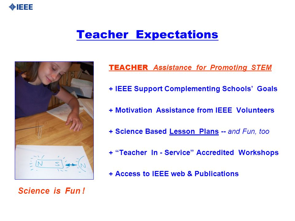 Teacher Expectations TEACHER Assistance for Promoting STEM + IEEE Support Complementing Schools Goals + Motivation Assistance from IEEE Volunteers + S