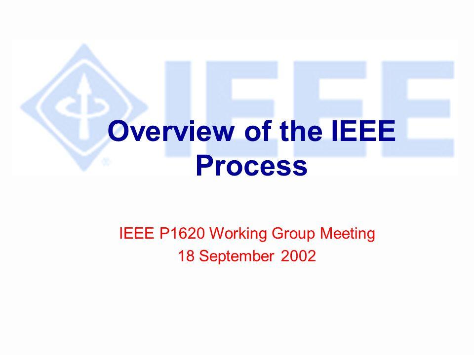 Overview of Process l Project Approval l Develop Draft Standards l Ballot Draft l IEEE-SA Standards Board Approval l Publish Standard l Resources