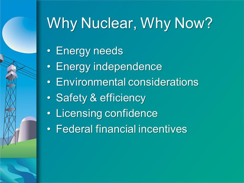 Why Nuclear, Why Now? Energy needsEnergy needs Energy independenceEnergy independence Environmental considerationsEnvironmental considerations Safety