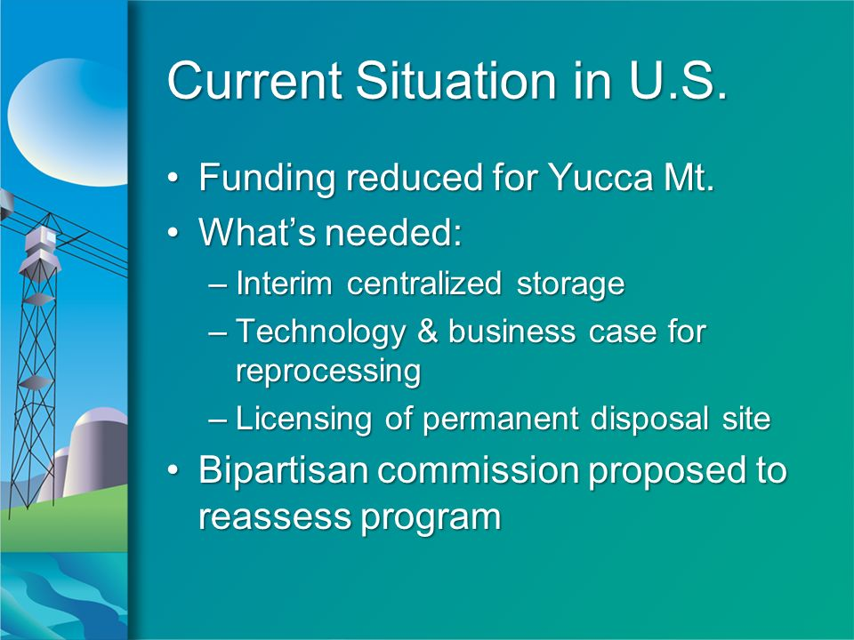 Current Situation in U.S.Funding reduced for Yucca Mt.Funding reduced for Yucca Mt.