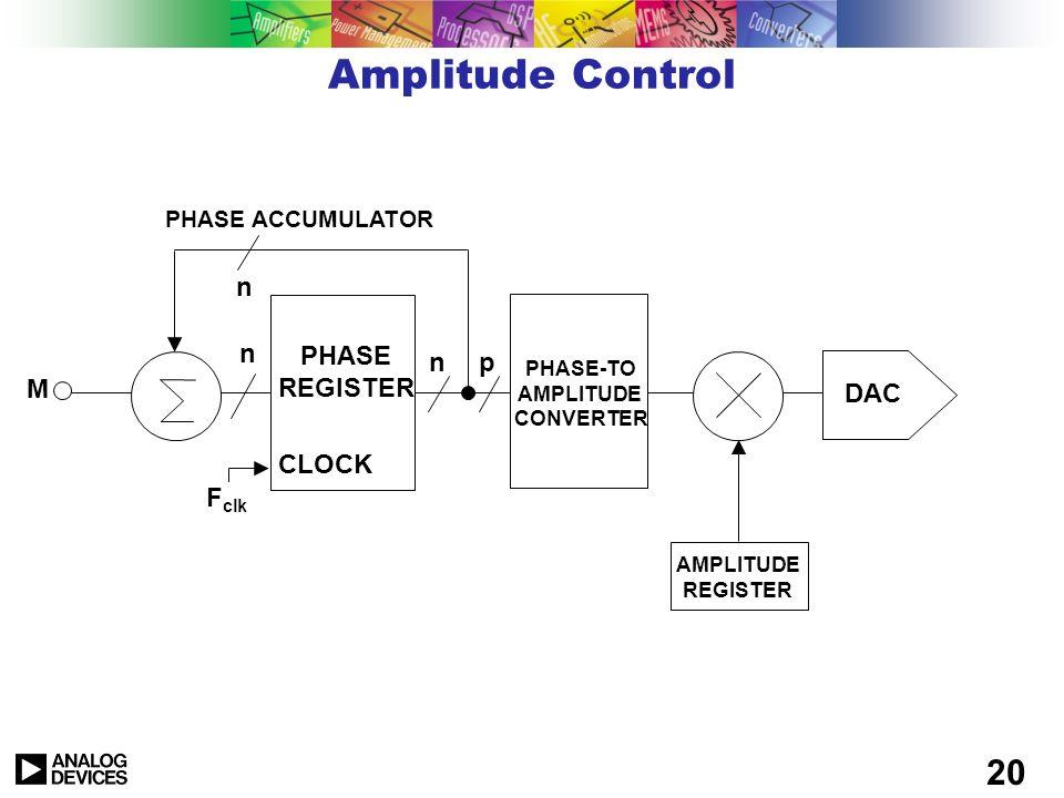 19 Frequency Control n PHASE REGISTER CLOCK n PHASE ACCUMULATOR n n = 24 - 48 BITS FREQUENCY CONTROL M = TUNING WORD DELTA PHASE REGISTER M n F clk PH