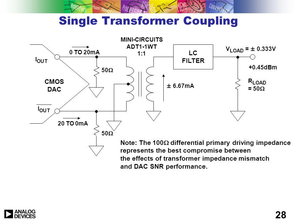 27 Output Circuits R OUT I FS – I I I OUT R SET u I FS 2 - 20mA typical u R OUT > 100k u Output compliance voltage < ±1V for best performance u That i