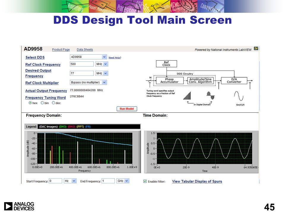 44 On-Line DDS Tools ADIsimDDS