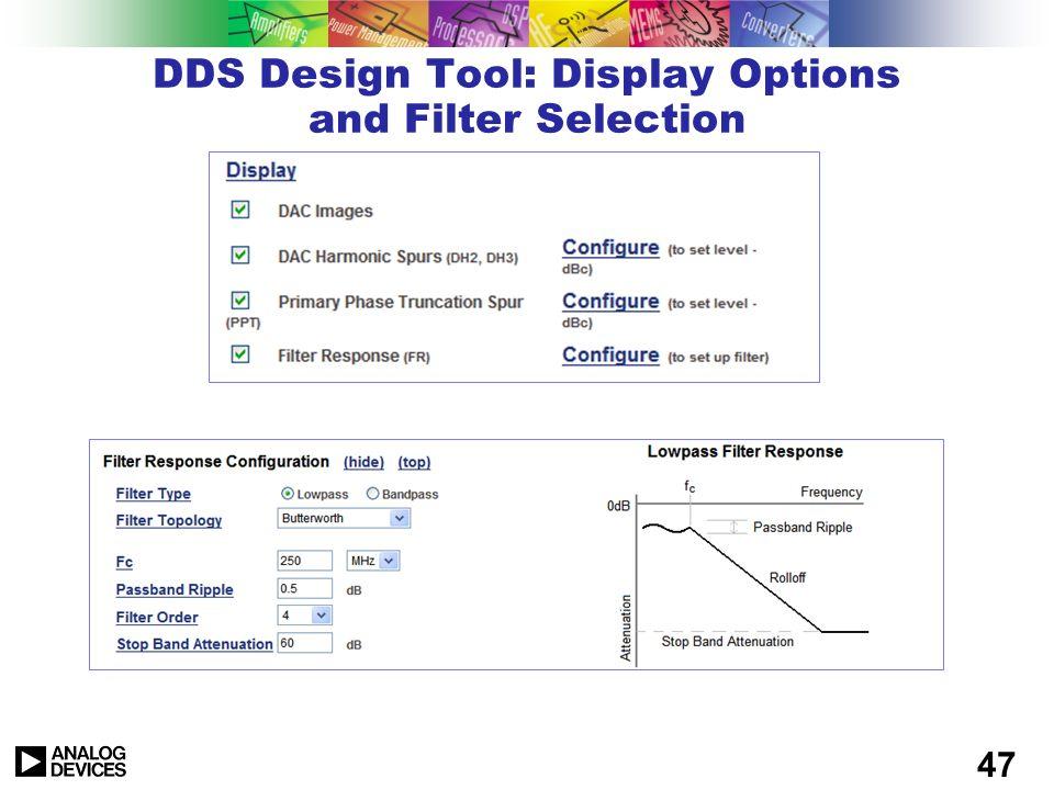 46 DDS Design Tool: Tabular Display of Spurs