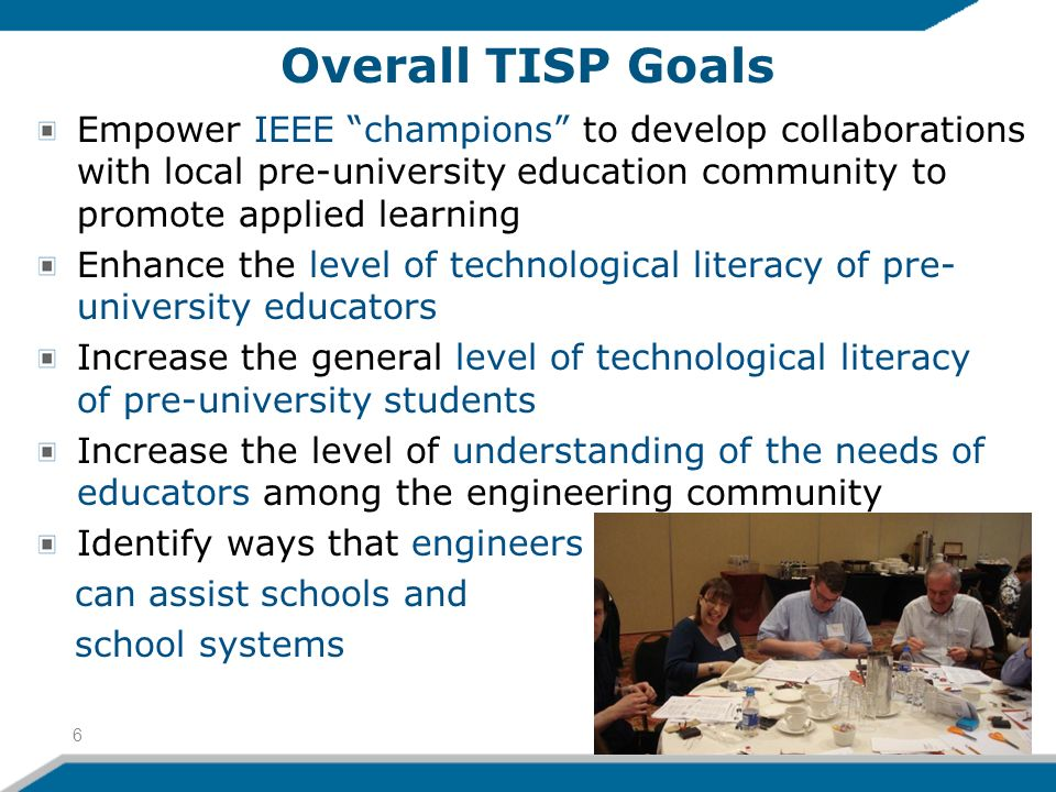 Overall TISP Goals Empower IEEE champions to develop collaborations with local pre-university education community to promote applied learning Enhance the level of technological literacy of pre- university educators Increase the general level of technological literacy of pre-university students Increase the level of understanding of the needs of educators among the engineering community Identify ways that engineers can assist schools and school systems 6