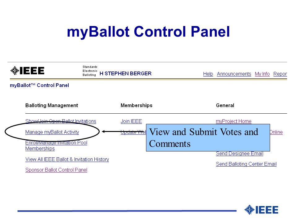 myBallot Control Panel View and Submit Votes and Comments