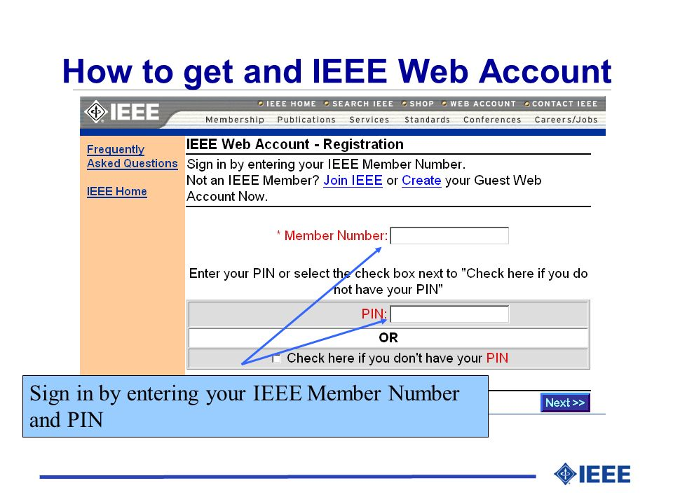 Login using your IEEE Web Account.
