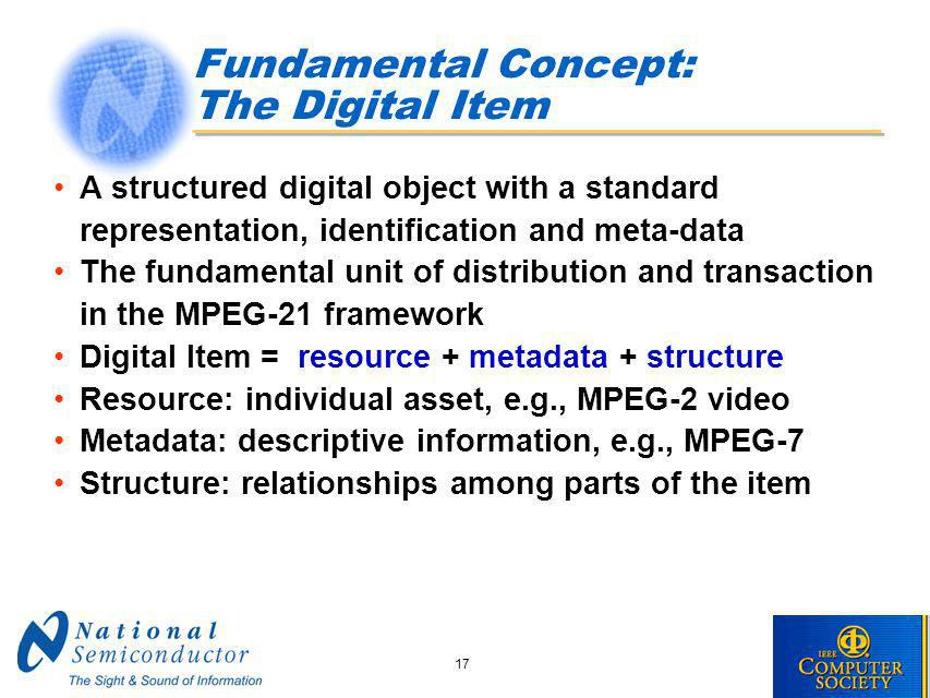 17 Fundamental Concept: The Digital Item A structured digital object with a standard representation, identification and meta-data The fundamental unit of distribution and transaction in the MPEG-21 framework Digital Item = resource + metadata + structure Resource: individual asset, e.g., MPEG-2 video Metadata: descriptive information, e.g., MPEG-7 Structure: relationships among parts of the item