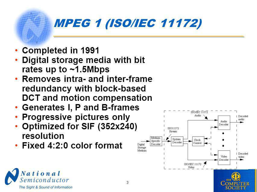 3 MPEG 1 (ISO/IEC 11172) Completed in 1991 Digital storage media with bit rates up to ~1.5Mbps Removes intra- and inter-frame redundancy with block-based DCT and motion compensation Generates I, P and B-frames Progressive pictures only Optimized for SIF (352x240) resolution Fixed 4:2:0 color format