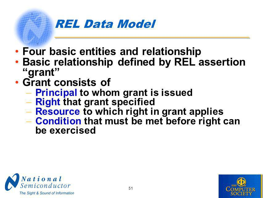 51 REL Data Model Four basic entities and relationship Basic relationship defined by REL assertion grant Grant consists of –Principal to whom grant is issued –Right that grant specified –Resource to which right in grant applies –Condition that must be met before right can be exercised