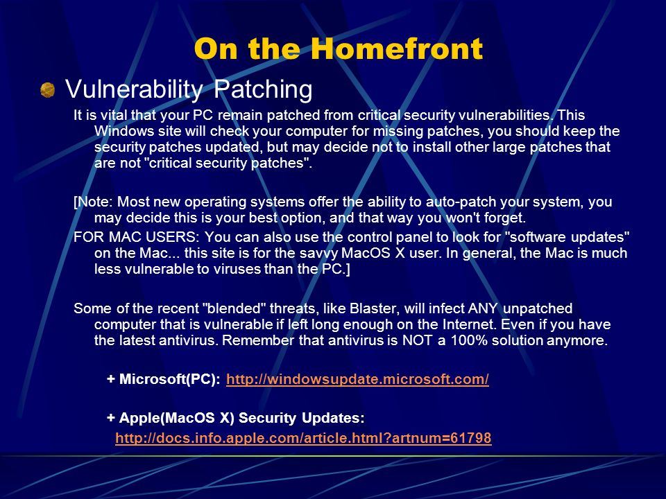 On the Homefront Vulnerability Patching It is vital that your PC remain patched from critical security vulnerabilities.