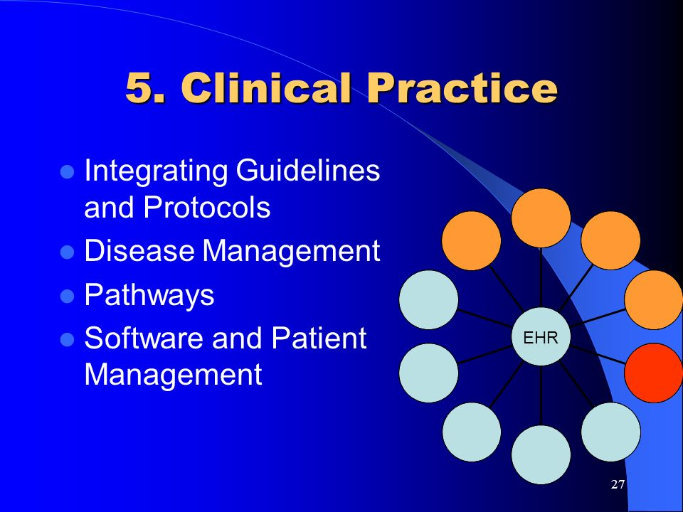 27 5. Clinical Practice Integrating Guidelines and Protocols Disease Management Pathways Software and Patient Management EHR