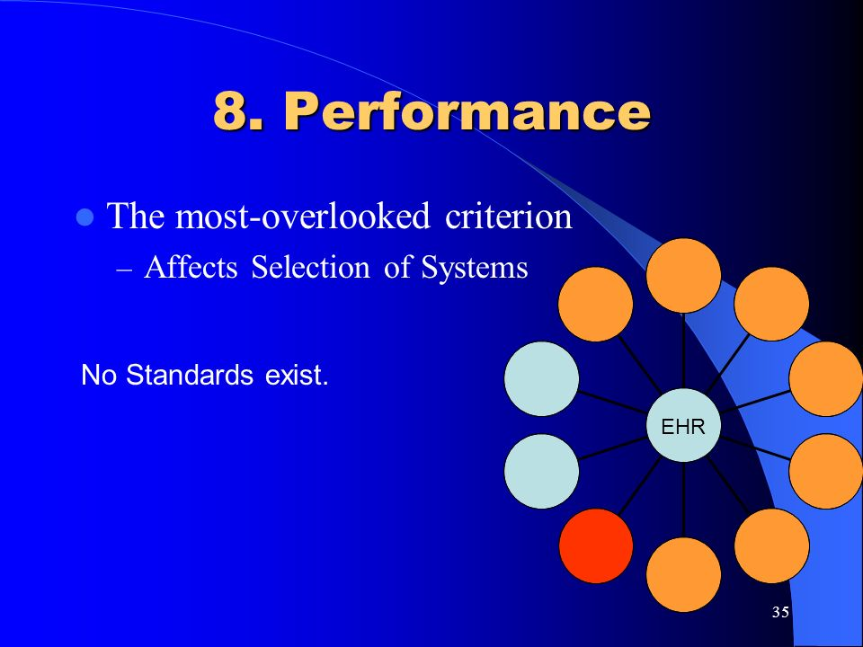 35 8. Performance The most-overlooked criterion – Affects Selection of Systems EHR No Standards exist.