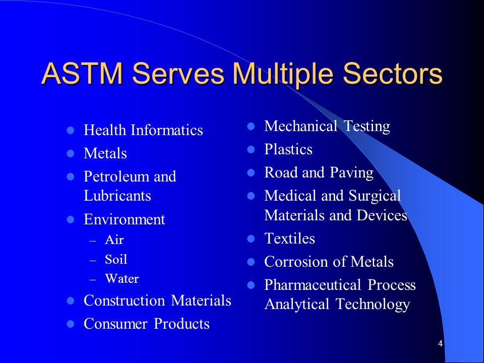 4 ASTM Serves Multiple Sectors Health Informatics Metals Petroleum and Lubricants Environment – Air – Soil – Water Construction Materials Consumer Pro