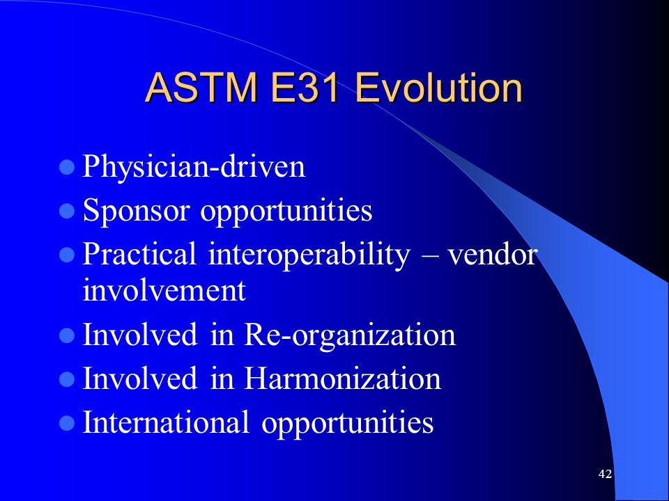42 ASTM E31 Evolution Physician-driven Sponsor opportunities Practical interoperability – vendor involvement Involved in Re-organization Involved in H