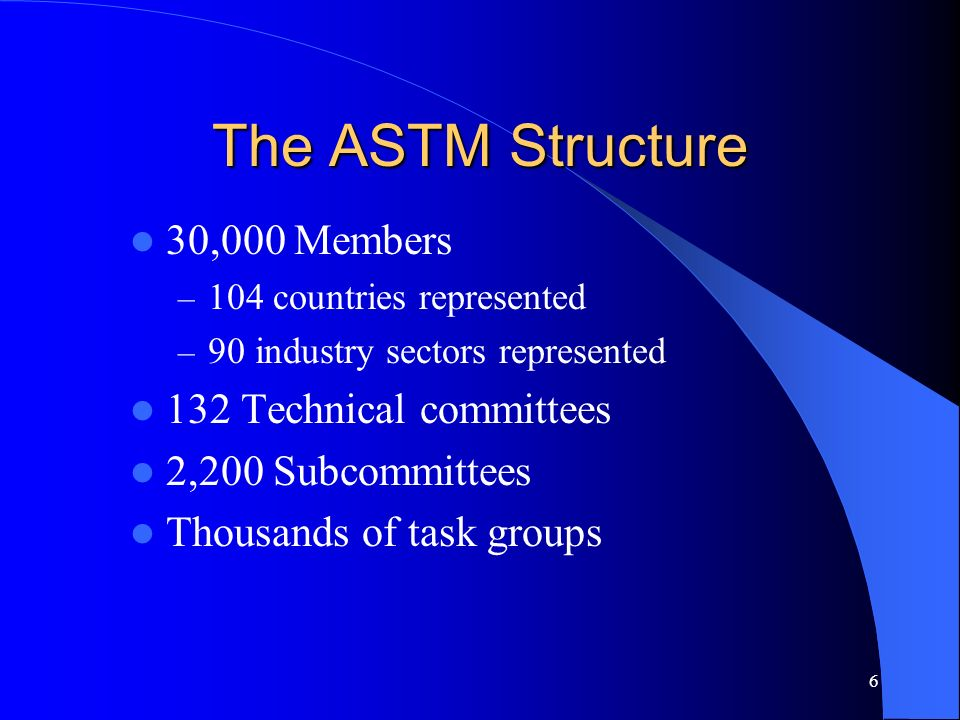 6 The ASTM Structure 30,000 Members – 104 countries represented – 90 industry sectors represented 132 Technical committees 2,200 Subcommittees Thousan