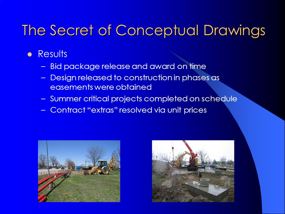 The Secret of Conceptual Drawings Results –Bid package release and award on time –Design released to construction in phases as easements were obtained –Summer critical projects completed on schedule –Contract extras resolved via unit prices