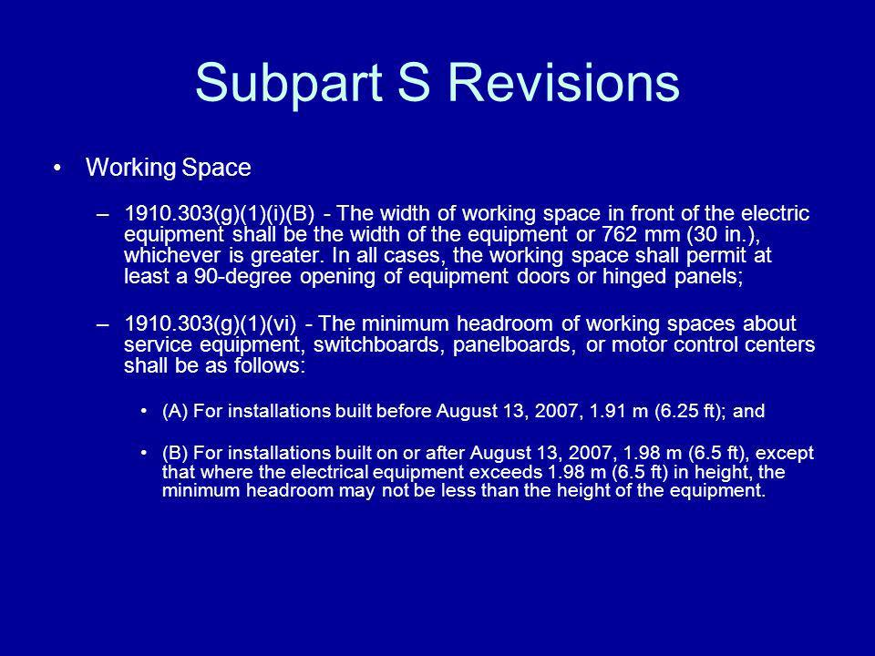 Subpart S Revisions Working Space –1910.303(g)(1)(i)(B) - The width of working space in front of the electric equipment shall be the width of the equi
