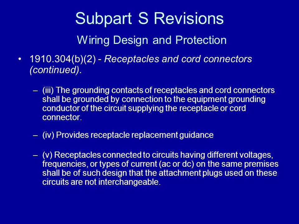 Subpart S Revisions Wiring Design and Protection 1910.304(b)(2) - Receptacles and cord connectors (continued). –(iii) The grounding contacts of recept