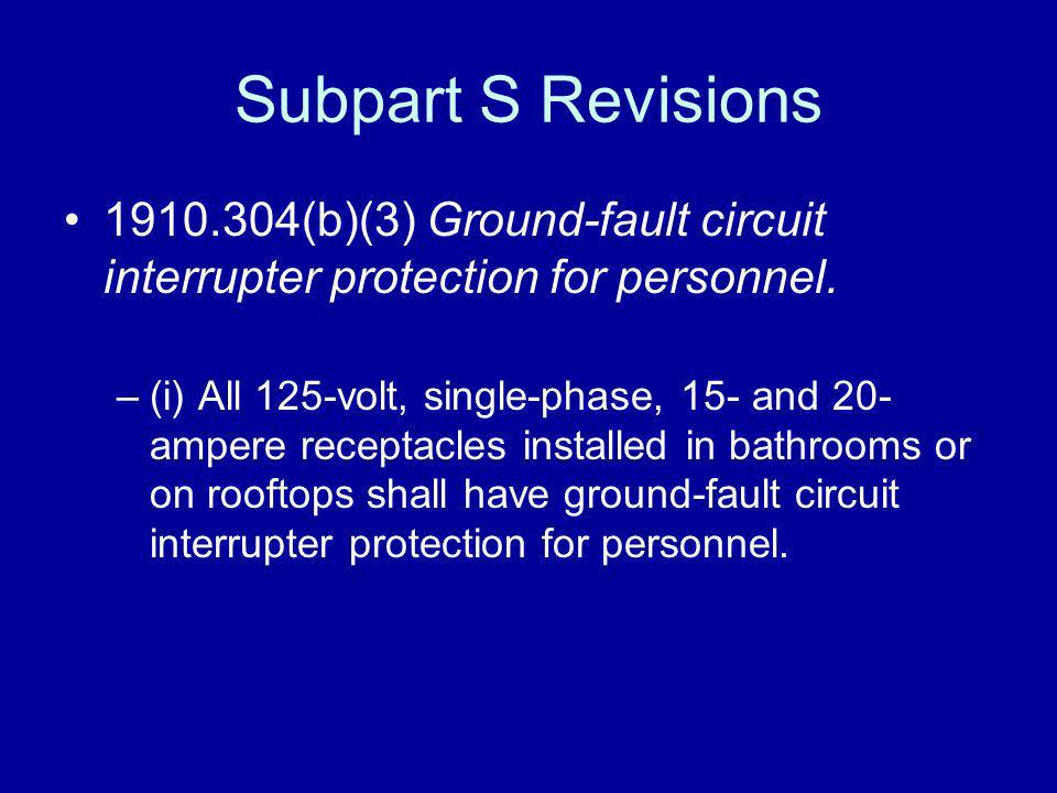 Subpart S Revisions 1910.304(b)(3) Ground-fault circuit interrupter protection for personnel. –(i) All 125-volt, single-phase, 15- and 20- ampere rece