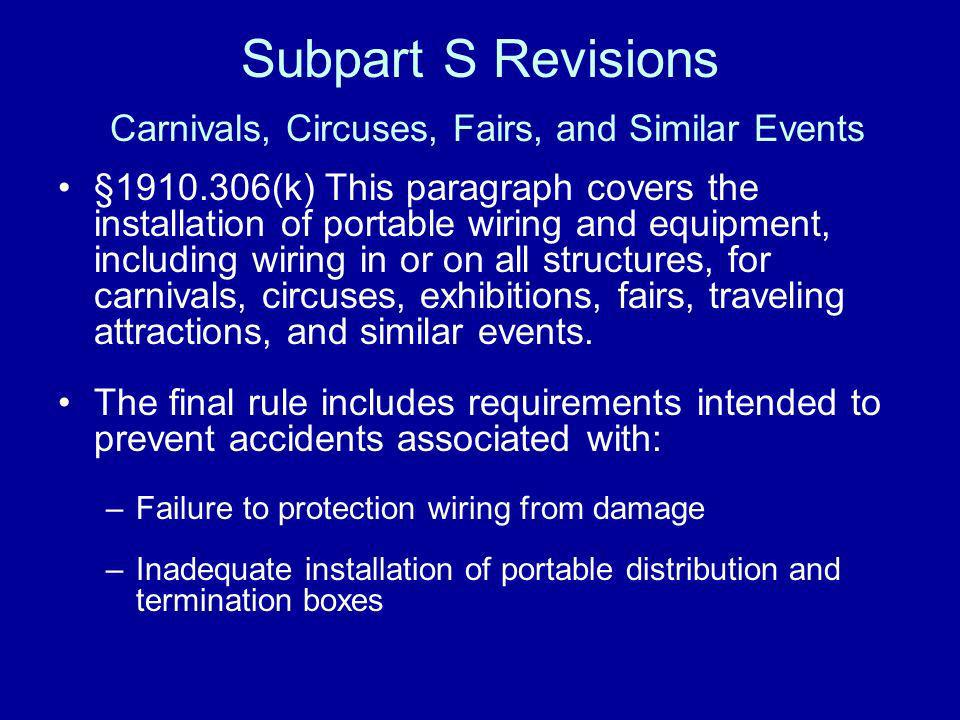 Subpart S Revisions Carnivals, Circuses, Fairs, and Similar Events §1910.306(k) This paragraph covers the installation of portable wiring and equipmen