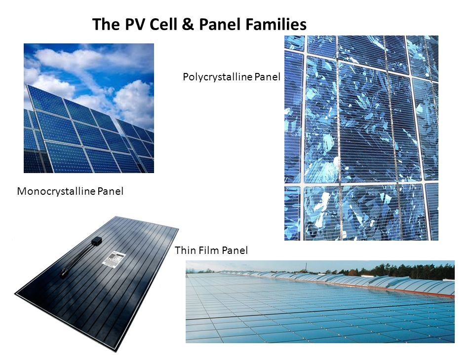 The PV Cell & Panel Families Monocrystalline Panel Thin Film Panel Polycrystalline Panel