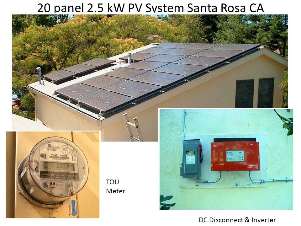 20 panel 2.5 kW PV System Santa Rosa CA DC Disconnect & Inverter TOU Meter