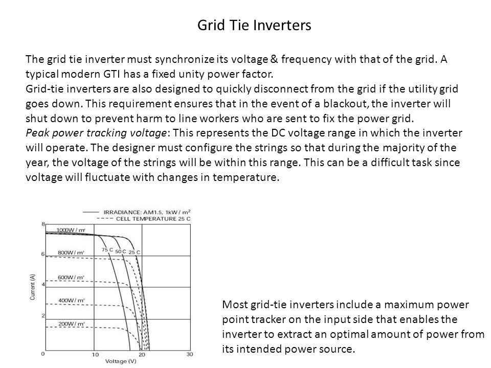 The grid tie inverter must synchronize its voltage & frequency with that of the grid. A typical modern GTI has a fixed unity power factor. Grid-tie in