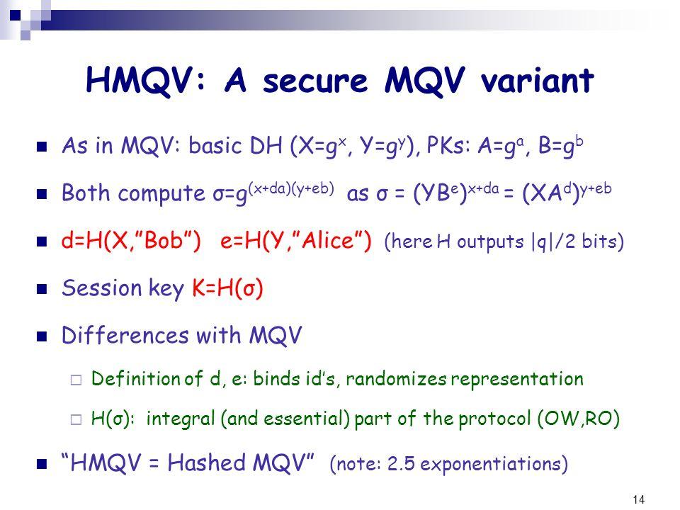 14 HMQV: A secure MQV variant As in MQV: basic DH (X=g x, Y=g y ), PKs: A=g a, B=g b Both compute σ=g (x+da)(y+eb) as σ = (YB e ) x+da = (XA d ) y+eb