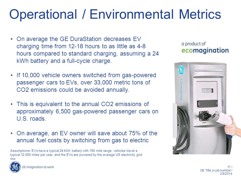 17 / GE Title or job number / 2/8/2014 Operational / Environmental Metrics On average the GE DuraStation decreases EV charging time from 12-18 hours t