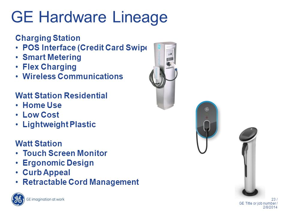 23 / GE Title or job number / 2/8/2014 GE Hardware Lineage Charging Station POS Interface (Credit Card Swipe) Smart Metering Flex Charging Wireless Co